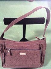 Vera Bradley Espresso Chocolate Brown Solid Quilted Satchel Purse Handbag Micro