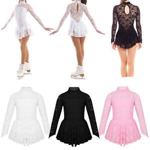 Girl-Figure-Roller-Ice-Skating-Dress-Lace-Mock-Neck-Long-Sleeve-Training-Costume