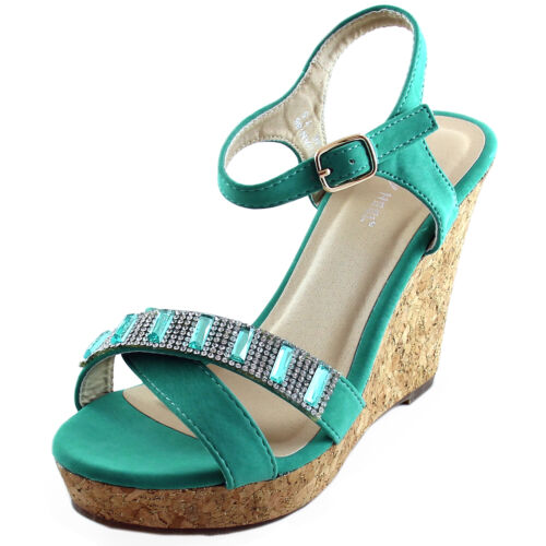 New women/'s shoes sandals open toe wedge turquoise blue rhinestones casual party