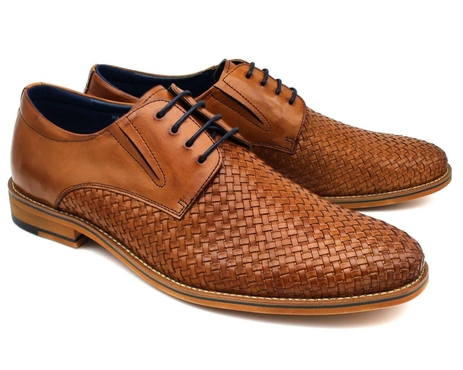 *A35 UK 10 MENS BROWN REAL LEATHER CASUAL SHOES WOVEN LACE UP SMART OFFICE EU 44