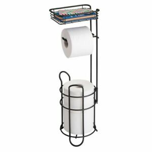 mDesign-Metal-Toilet-Paper-Holder-Stand-Dispenser-with-Shelf-3-Rolls-Black