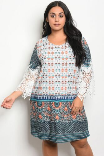 Women/'s Plus Size Ivory and Jade Multi Print Dress with Lace Accents 2XL NEW