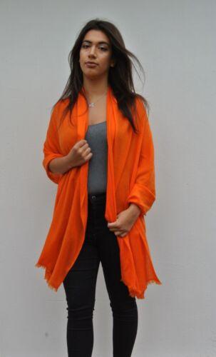 Large Ladies Luxury 100/% Cashmere Shawl In Tangerine Orange Handcrafted In Nepal