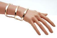 Women Gold Bracelet Metal Fashion Jewelry Wrap Round Geometric Shapes 3 Stripes