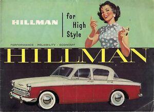 Hillman Minx Series III 1958 59 UK Market Sales Brochure