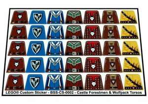 Replica-Pre-Cut-Stickers-for-Lego-Castle-Forestmen-amp-Wolfpack-Minifig-Torsos