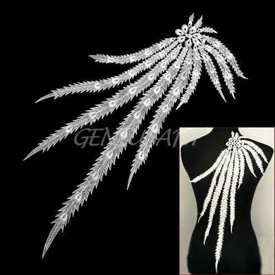 Long Peacock Tail Feather Applique Venise Lace Trim Embroidery Lace Fabric