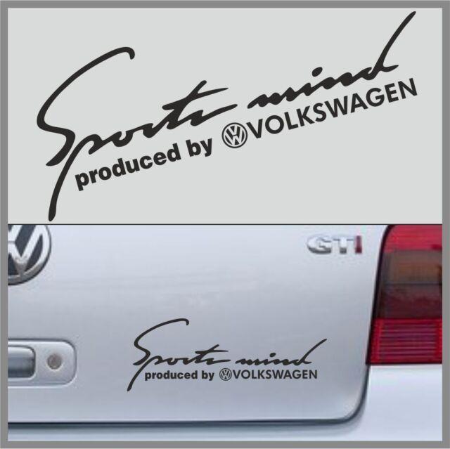 "Sport Mind produced by VOLKSWAGEN Decal Sticker Vinyl Emblem Logo 10""-25cm BLACK"