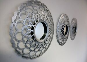 Set-Of-3-Decorative-Antique-Silver-Mirrors-Round-Wall-Mounted-Moroccan-Art-Deco