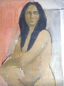 PEINTURE-EXPRESSIONNISTE-PORTRAIT-FEMME-NUE-VERS-1950-ESPRIT-KIRCHNER-MODIGLIANI