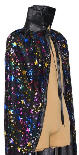 Halloween-Magic-Dazzles-Fancy Dress BLACK STAR STARRY WIZARD CLOAK One size