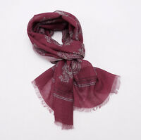 $205 Corneliani Textured Wool-silk Scarf Burgundy-gray Paisley Print on sale