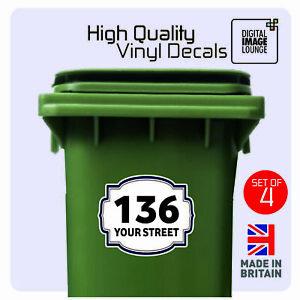 3x LARGE WHEELIE BIN NUMBER Custom Waterproof Vinyl Sign Decal Stickers