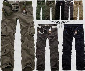 Hombre-Militar-Informal-Pantalon-Cargo-Pantalones-de-Combate-Nuevo-H16
