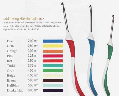 Addi SWING HÄKELNADEL ergonomischer Griff für entspanntes Häkeln Aluminium 140-7