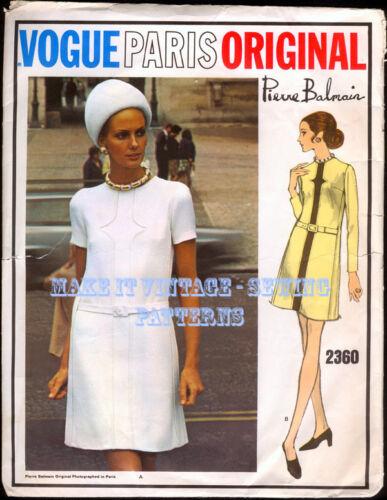 Vintage años 60 Vogue 2360 Pierre Balmain Vestido Patrón De Costura B40.