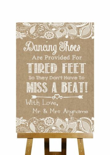 Burlap /& Lace Effect Flip Flops Sandals For Tired Feet Wedding Sign
