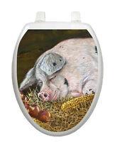 Toilet Tattoos Toilet Lid Decor Hog Heaven Pig Seat Lid Cover Brown Reusable