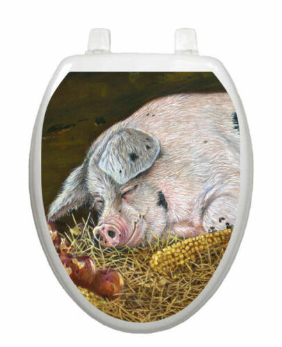 Toilet Tattoos Toilet Lid Decor Hog Heaven Pig Seat  Lid Cover  Brown Reusable