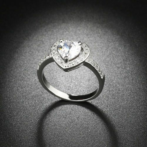 GENUINE SILVER 925 SPARKLING SHIMMERING HEART  RING SIZE 52 LIMITED INTRO OFFER