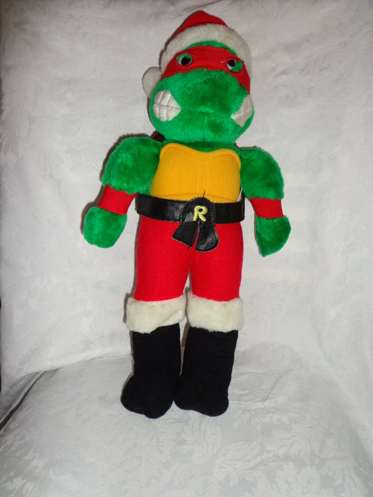 1990 Teenage Mutant Ninja Turtles Rafael 19  Santa Plush Toy Stuffed Animal