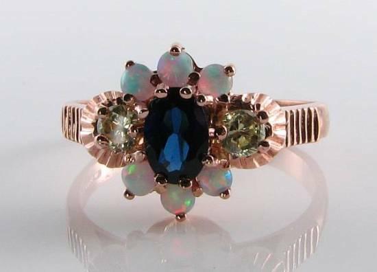 LUSH 9CT 9K pink gold blueE SAPPHIRE PERIDOT OPAL ART DECO INS RING FREE RESIZE