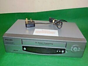 Pacific-VCR-VHS-Video-Grabadora-De-Cassette-Vintage-PV204-Plata-inteligente-Totalmente-probado
