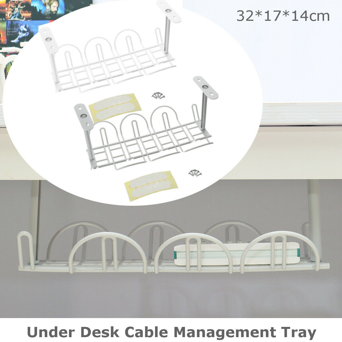 Under Desk Cable Management Tray Storage Organizer Power Charger Cord P6I3 Z9L6