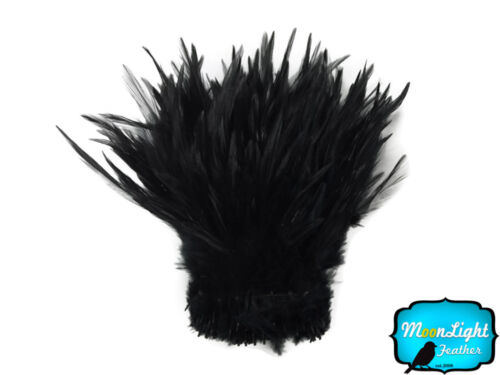 Black Strung Rooster Neck Hackle Wholesale feathers Halloween Supplier 1 Yard