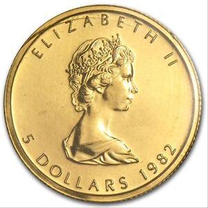 1982-1-10oz-Canada-5-Gold-Maple-Leaf-Mint-Sealed-999-Fine-Gold-1st-Year