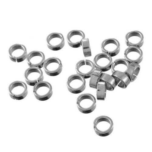 50 Edelstahl Ringe Für Schmuck DIY Hochglanz 7mm LP