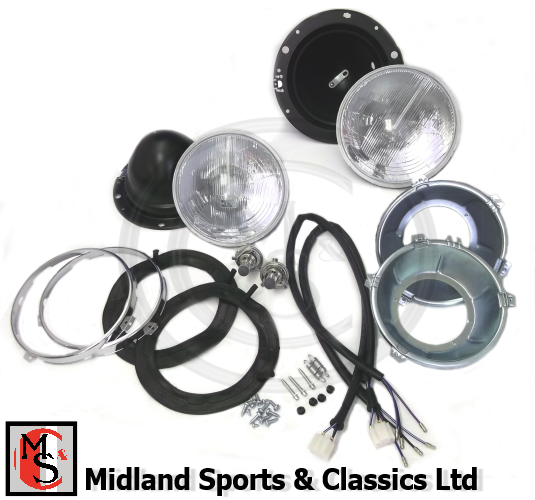 BEK160L - MGB & MGC CHROME BUMPER - HALOGEN HEADLAMP KIT - NO PILOT - PAIR - LHD