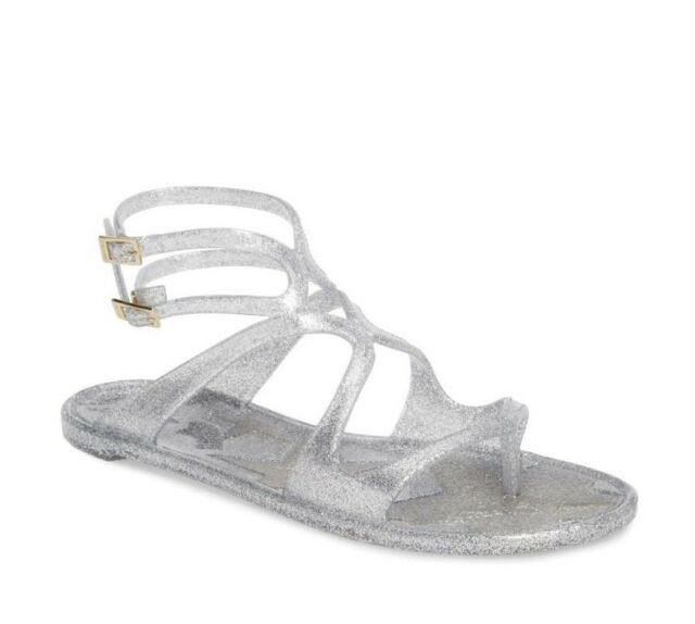 c75ef5353892 NIB Jimmy Choo Lance Silver Metallic Glitter Rubber Jelly Sandals 7 37 New