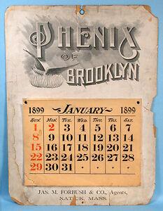 1899 Turn-of-the-Century Advertising Calendar Phenix of Brooklyn Massachusetts