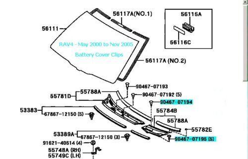 Juego De Seis Toyota Rav4 batería clips de cubierta