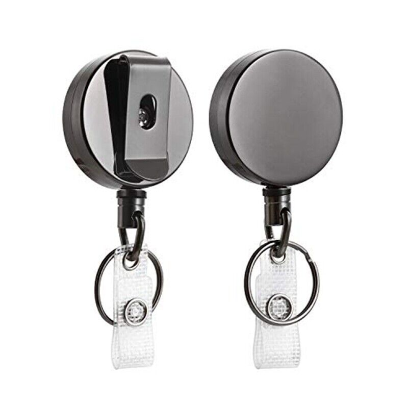 2 Pack Heavy Duty Retractable Badge Holder Reel,Metal ID Badge Holder with A9D8