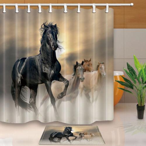 Horse In Swamp Animal Decor Bathroom Fabric Shower Curtain Set 71X71 Inches