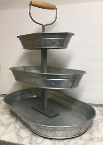 Galvanized-Metal-3-Tier-20-Oblong-Tray-Stand-Cupcakes-Farmhouse-Wooden-Handle