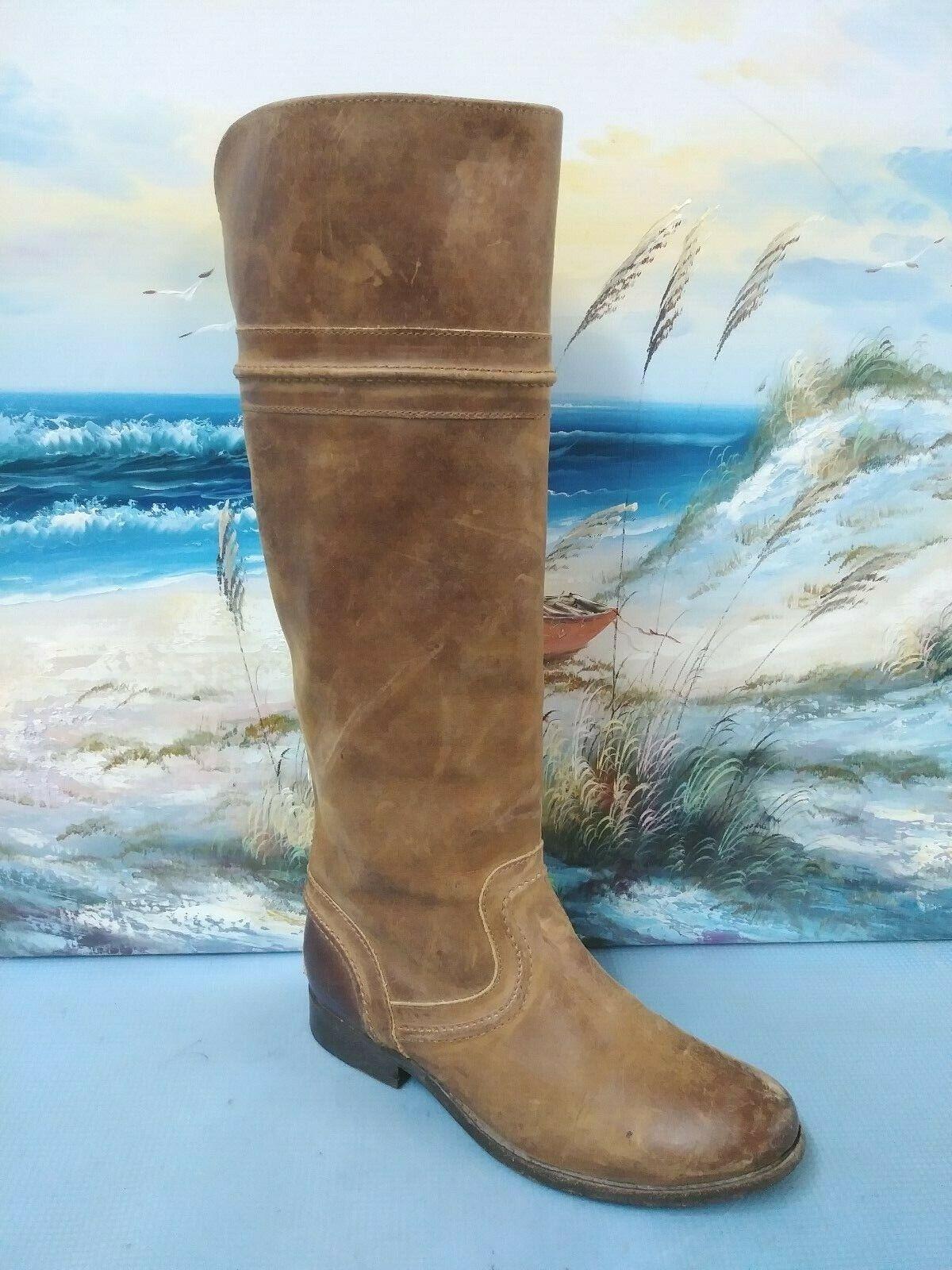 Frye Melissa trapunto Montar Rodilla botas 76441 botas De Cuero Marrón Damas 5.5 B