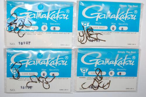 4 packs gamakatsu live bait hooks size 6  18107 versatile strong saltwater