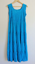 Turquoise Blue Long Mexican 100% Cotton Embroidered Summer Tank Dress Size M