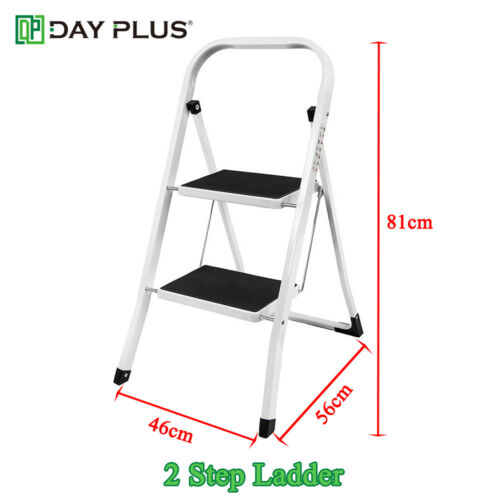 Foldable 2-8 Step Ladder Stepladder 150KG Anti Slip Tread Safety Steel Aluminium