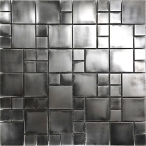 Rustic Industrial Stainless Steel Pattern Mosaic Tile Kitchen Backsplash Spa Ebay