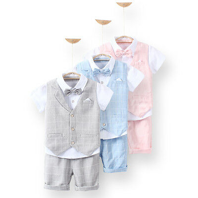 3Pcs Formal Toddler Children Boy Kid Short Suit Wedding Party Outfits size 1-8Y