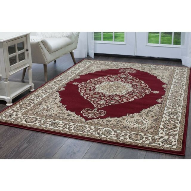8 Ft X 10 Area Rug Red Ivory 43 In Pile Tufted Jute Backing Clic Design