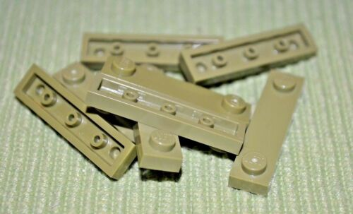 8 Olive Green 1x4 Plate w// Tile Center Bricks ~ Lego ~ NEW ~