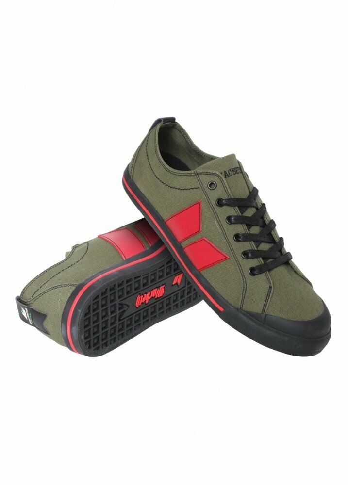 Macbeth The Eliot Trainer zapatos Military verde   rojo Tallas UK 4-12 BNIB VEGAN