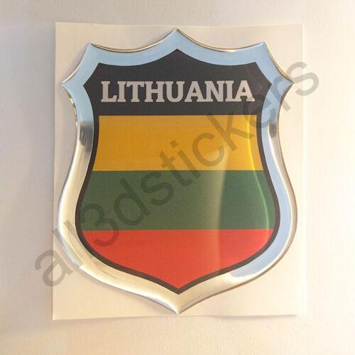 Sticker Lithuania Emblem 3D Resin Domed Gel Lithuania Flag Vinyl Decal Car