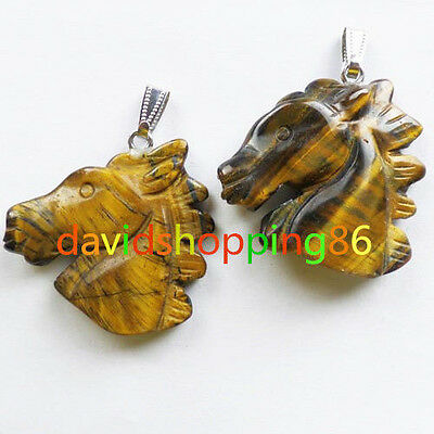 Q53781 Beautiful Carved Tiger Eye Gem horse head pendant bead