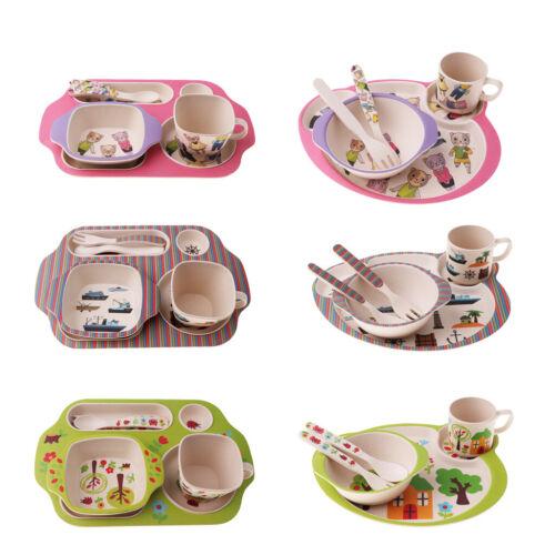 5Pcs//set Bamboo Fiber Baby Plate Bowl Cup Fork Spoon Baby Kids Feeding Tableware